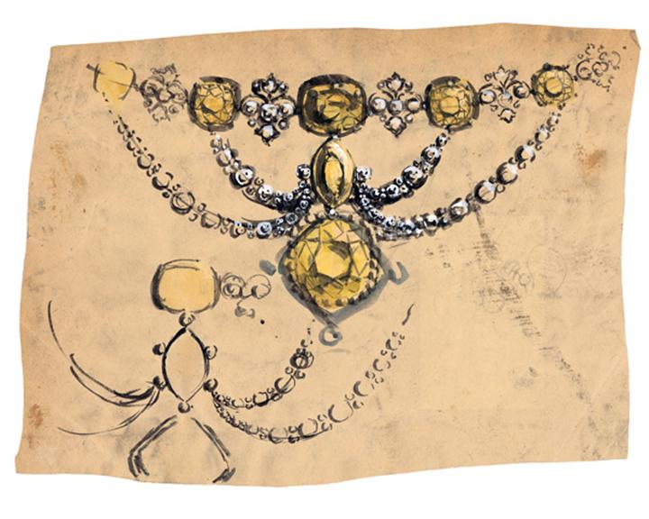 """镶嵌""""蒂芙尼传奇黄钻""""的swag黄钻项链设计手稿细节"""