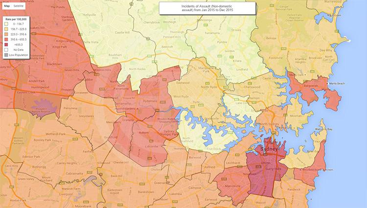 2015年悉尼各区域犯罪率地图