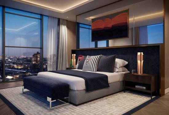 卧室同样采用整面落地窗设计,让清晨的阳光能够洒满整个房间,给你