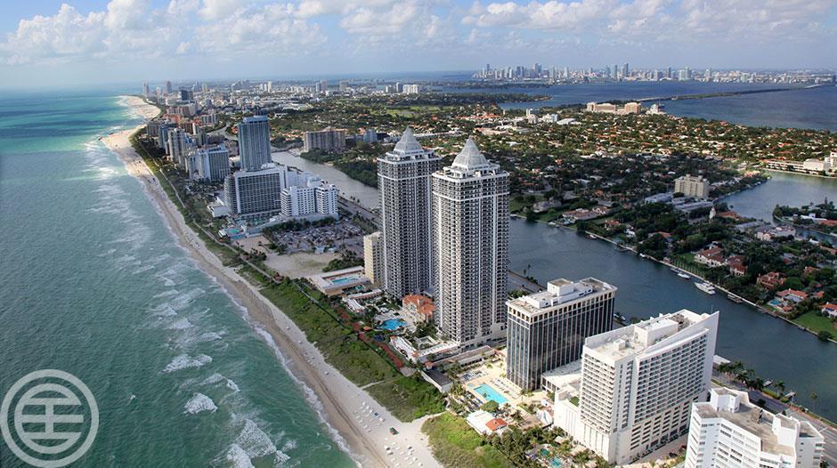 迈阿密海滩(Miami Beach)的房屋售价中值为340万美元,房价在全美排名第四