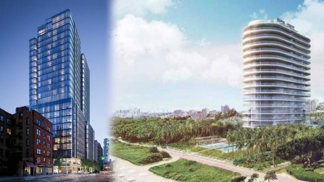 祖高域在纽约购入565 Broome SoHo(左)两个单位,在迈亚密的Eighty Seven Park大楼(右)也购入一个三房单位