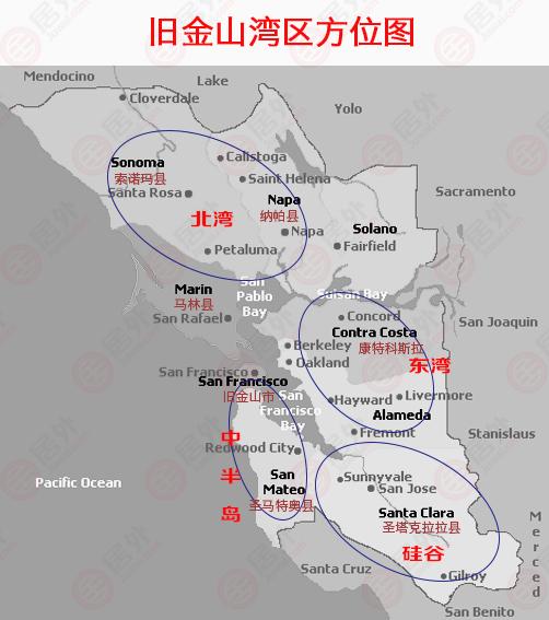 旧金山湾区分布图
