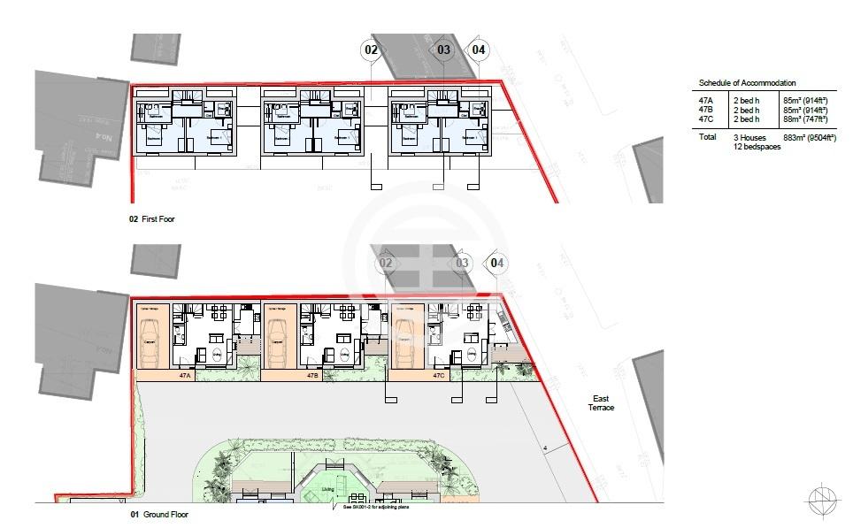 改建后的别墅部分平面图