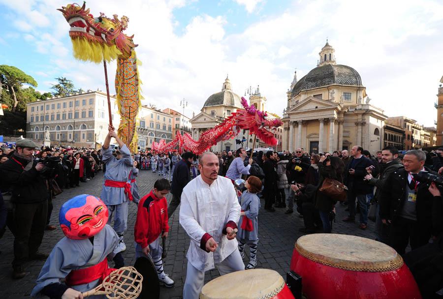 """意大利10年间入籍近百万移民,居欧洲国家首位。图为在意大利举办的""""中国文化年""""活动"""