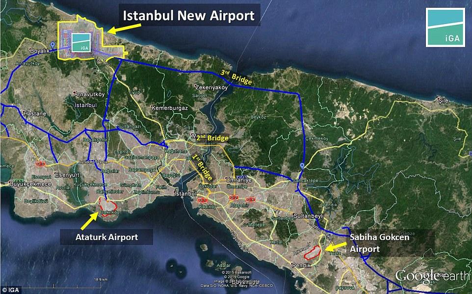 新机场位于黑海沿岸、土耳其近欧洲的一侧,将在伊斯坦布尔以外22英里处,有铁路,地铁和公交线路连接