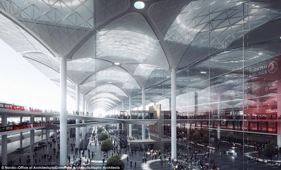 伊斯坦布尔新机场仅1号客运大楼的总建筑面积已将近1,100万平方英尺,能够服务9,000万人次