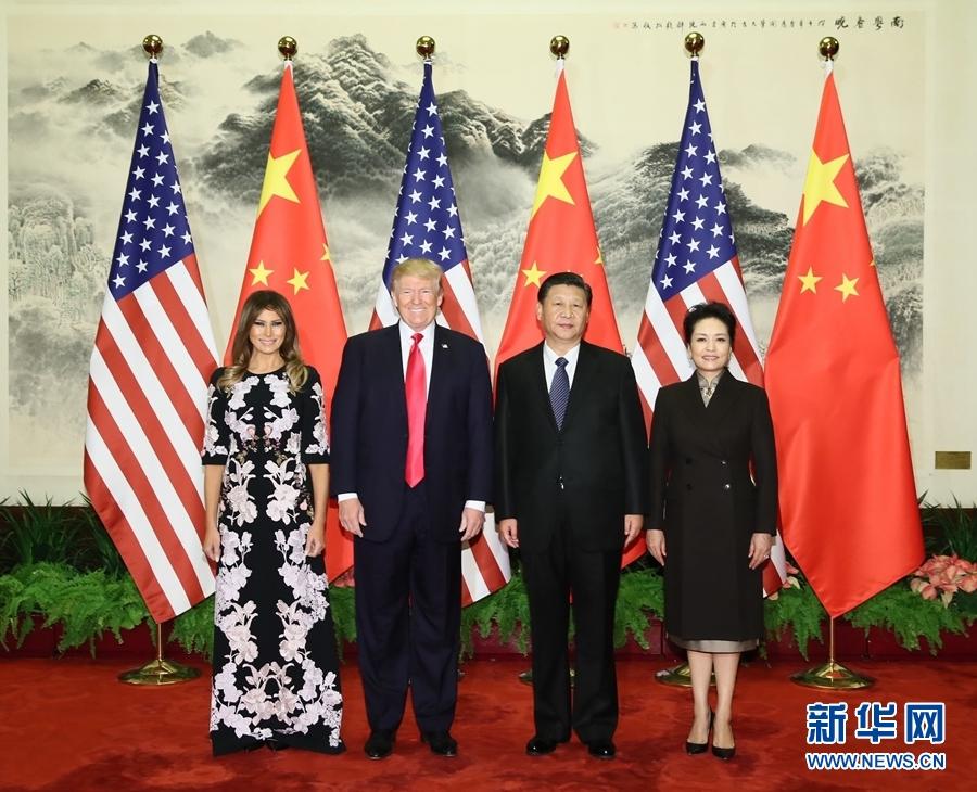 11月8日,应国家主席习近平邀请,美国总统特朗普抵达北京,开始对中国进行国事访问