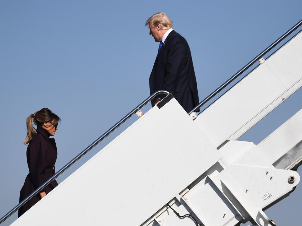 美国总统特朗普夫妇于11月8日下午3时抵京
