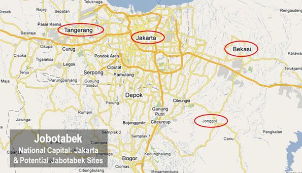 地图2:雅加达以东勿加西(Bekasi)和雅加达以西丹格朗(Tangerang)