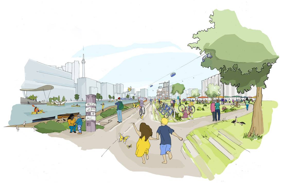 Sidewalk Labs的多伦多海滨码头重建概念图一