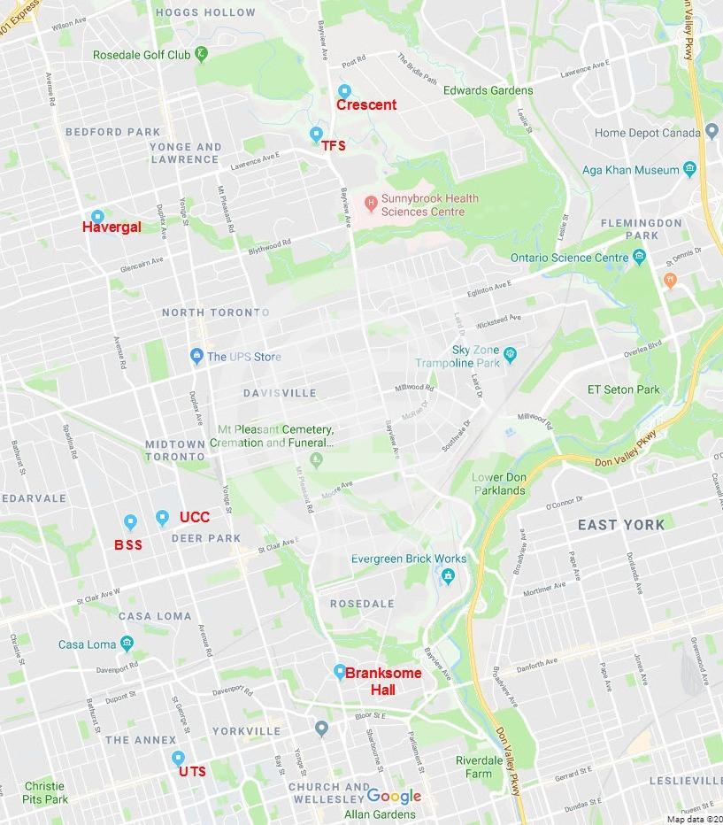 多伦多市区的顶级私校分布