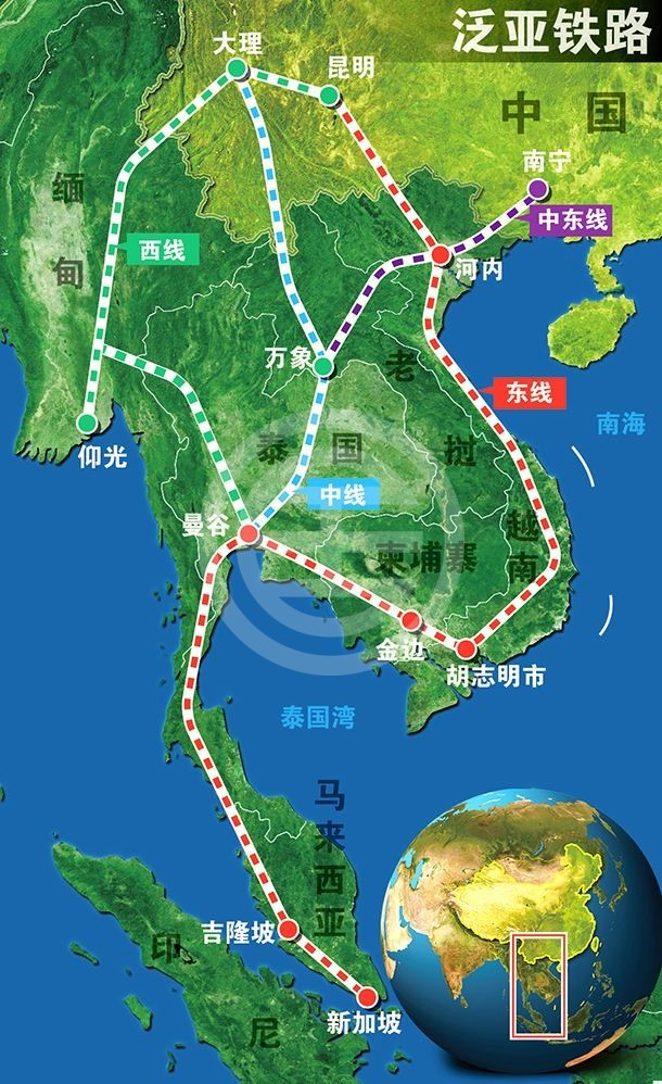 泛亚铁路规划图