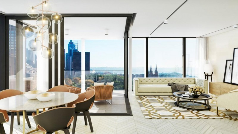 ONE30 Hyde Park的豪华客厅坐拥悉尼最美的景观