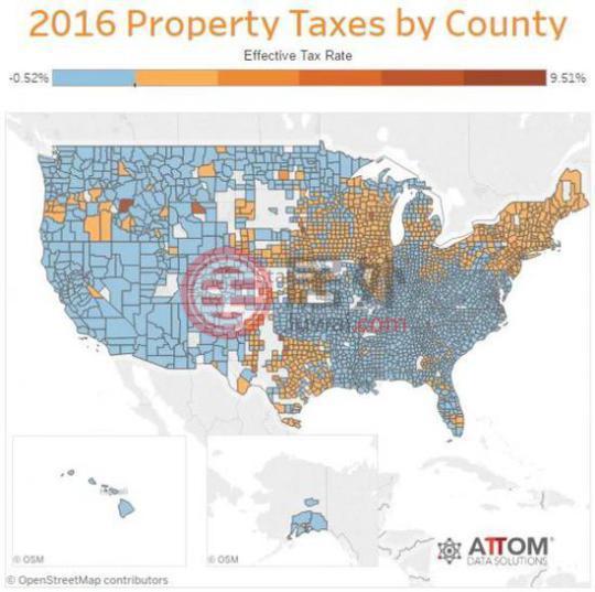 2016年美国各州房产税率