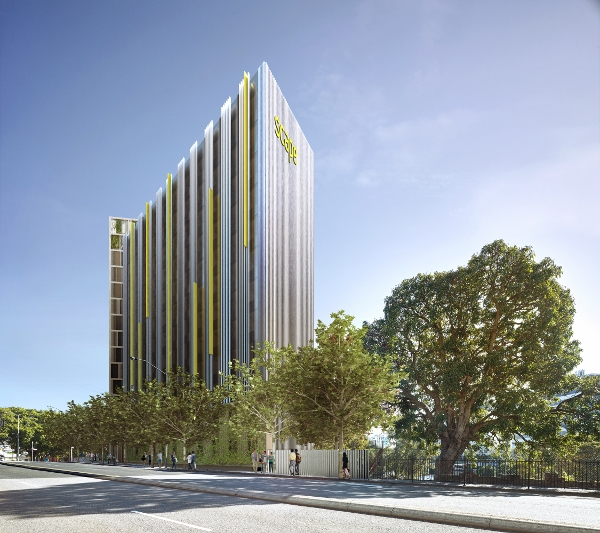 在中国留学生聚集的布里斯班迎来Scape South Bank学生公寓,图为大楼外观欣赏