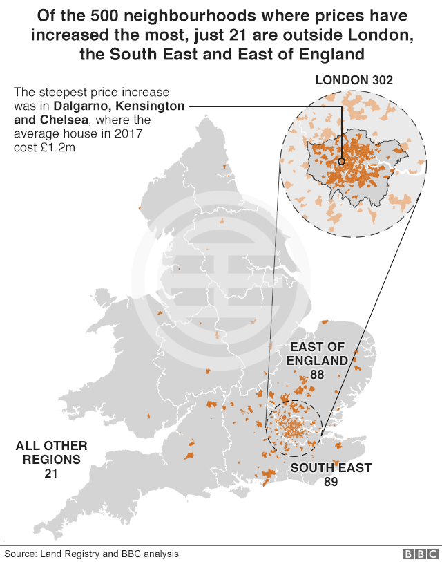 BBC调查发现,如果扣除通货膨胀因素,英格兰和威尔士很多住宅房屋的实际价格甚至低於十年前!