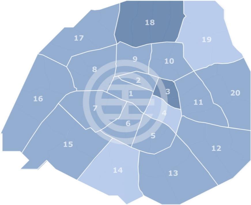 一年以来的旧房房价涨幅:第3区和18区在10-15%之间,第4、14和19区小于5%,其它区在5-10%之间。(paris.notaires.fr网站截图)