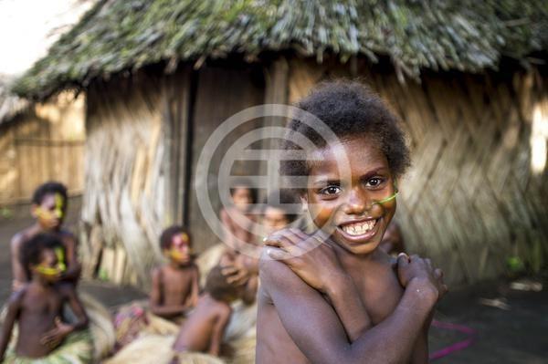 瓦努阿图小孩天真的笑容