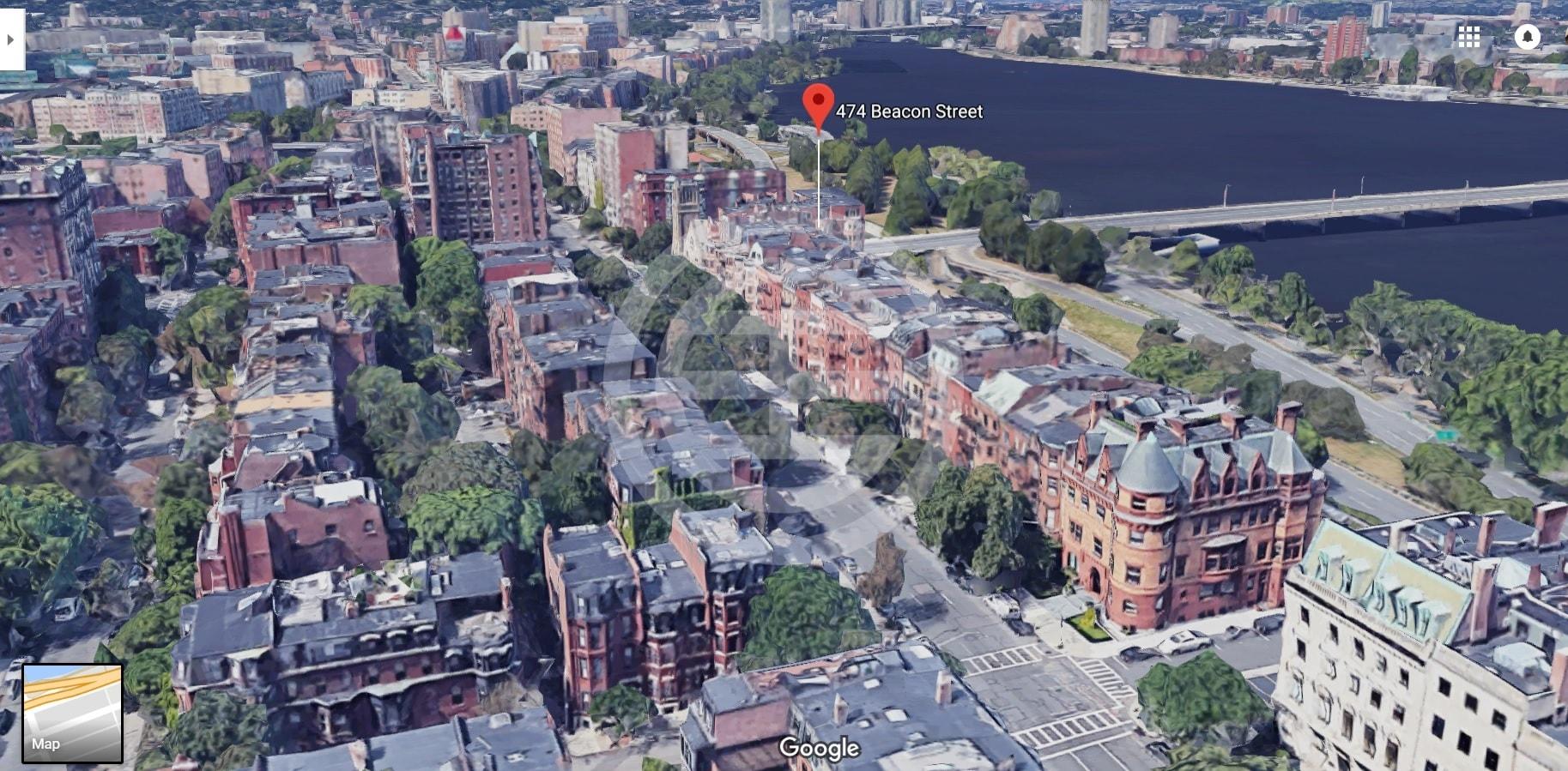 谷歌地图截图:波士顿查尔斯河畔的贝肯街(Beacon Street)474号公寓大楼
