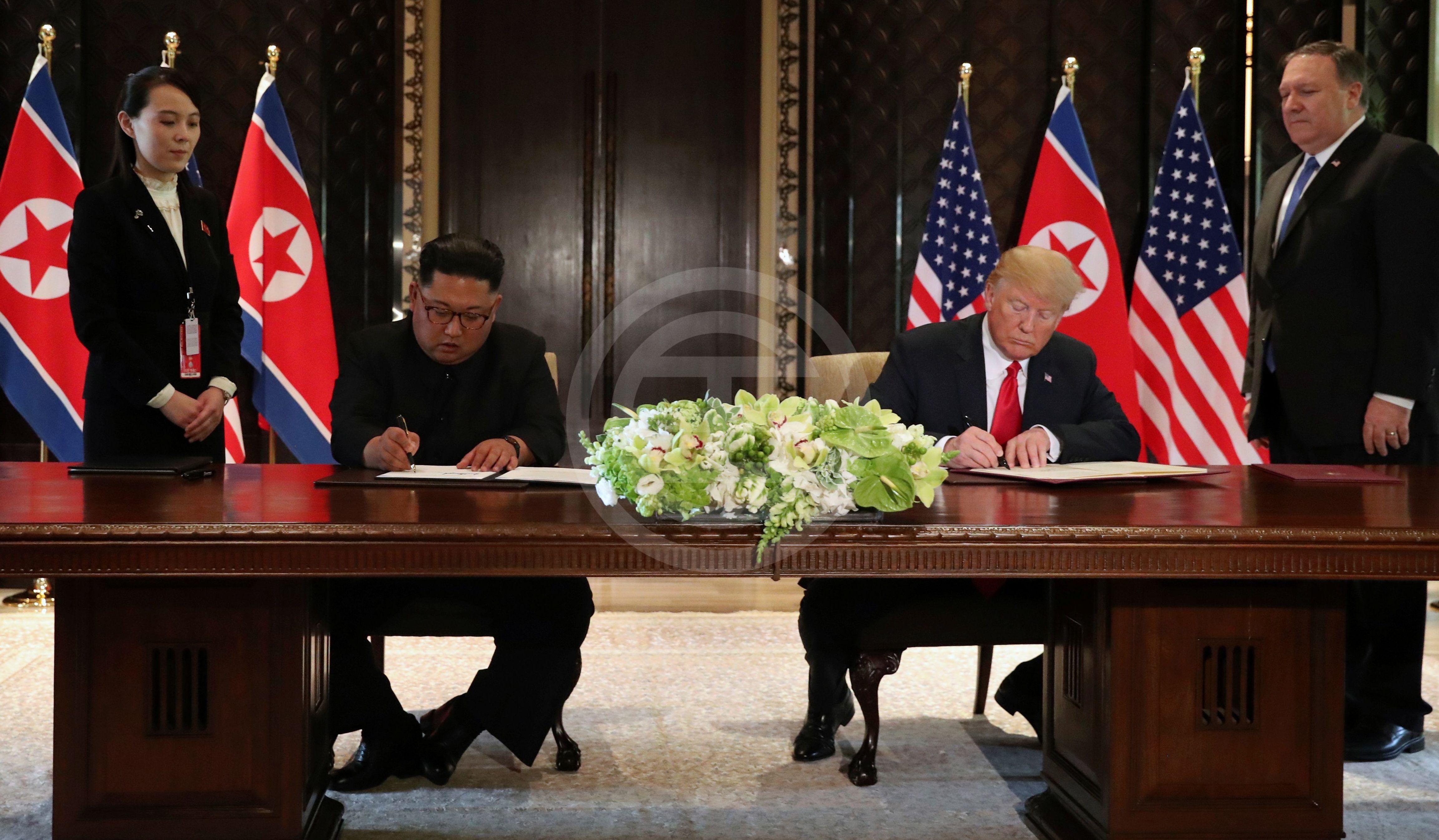 特朗普与金正恩签署联合声明