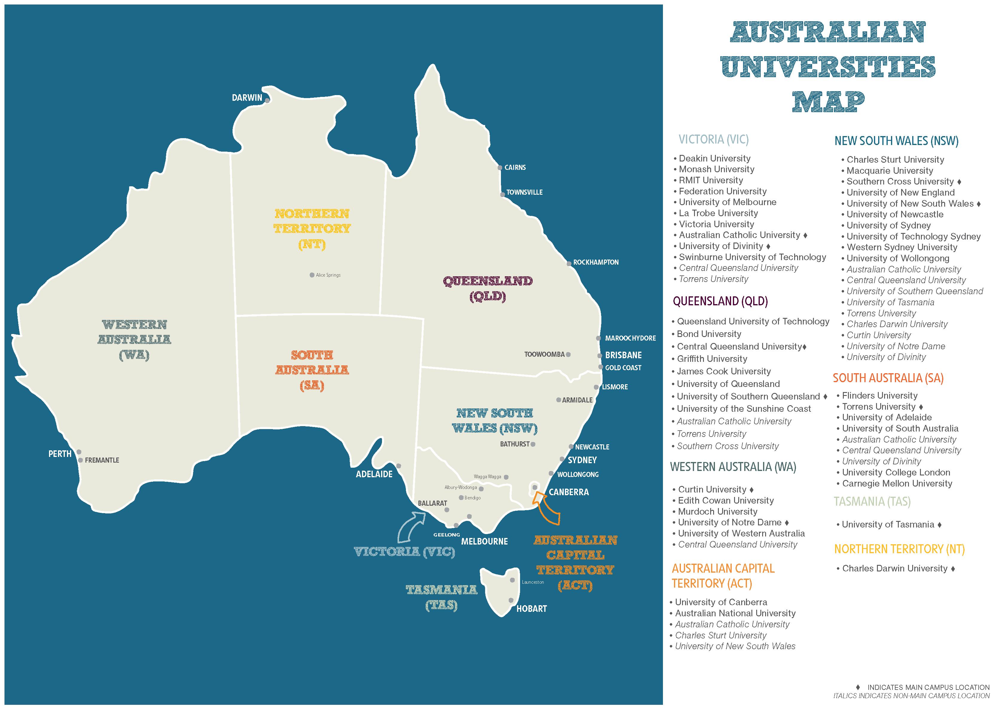 Australian university campuses map