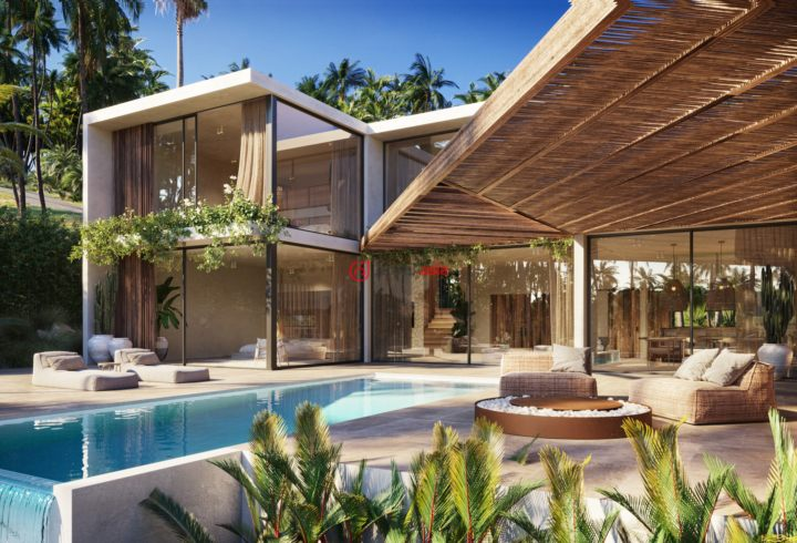 Modern eco-style villas in Koh Samui with a sea view.
